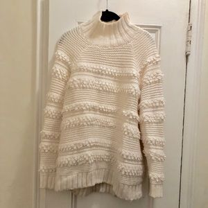 Lou & Grey Cream Turtleneck Sweater w Fringe - M